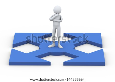 3d illustration of confused person thinking which way to choose.  3d rendering of human people character. - stock photo