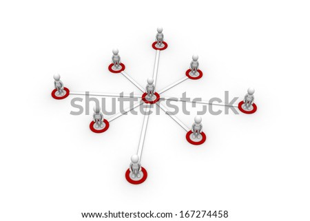 3D illustration of connected teams. Isolated on white background. - stock photo
