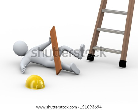 3d illustration of construction worker fallen off ladder on the job. 3d rendering of human person  - people character. - stock photo