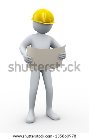 3d illustration of construction worker with helment and construction site blueprint.  3d rendering of people - human character.