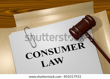 3D illustration of CONSUMER LAW title on Legal Documents. Legal concept.