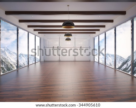 3d illustration of contemporary interior with amazing scenery view - stock photo