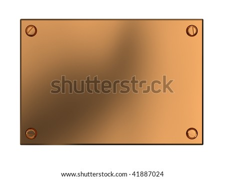 3d illustration of copper plate isolated over white background