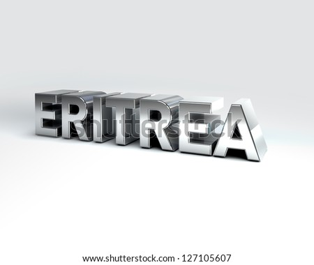 3D Illustration of Country Names Render isolated on White Background