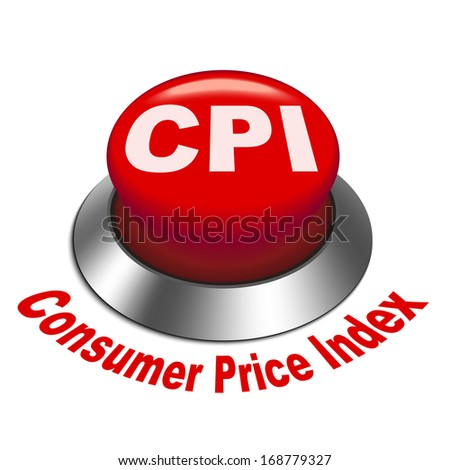 3d illustration of CPI ( Consumer Price Index ) button isolated white background