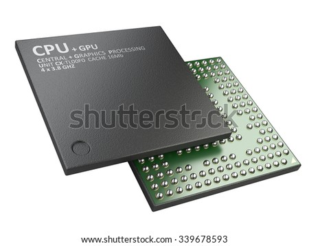 3d illustration of cpu chip central processor unit isolated on white background