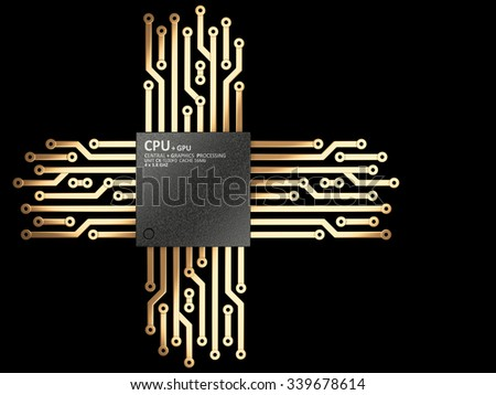3d illustration of cpu chip central processor unit with contacts for connection. Top view. Isolated on black background - stock photo