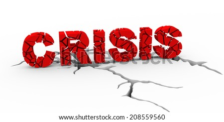 3d illustration of cracked word crisis on cracked fracture ground