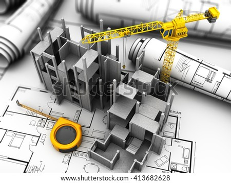3d illustration of crane and concrete building construction - stock photo