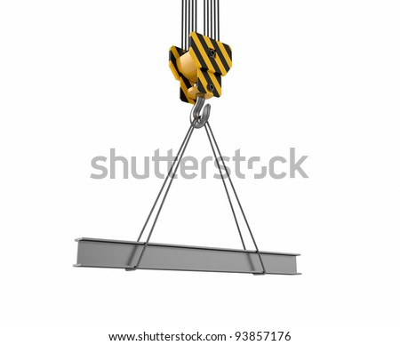 3d illustration of crane hook with rail on white - stock photo