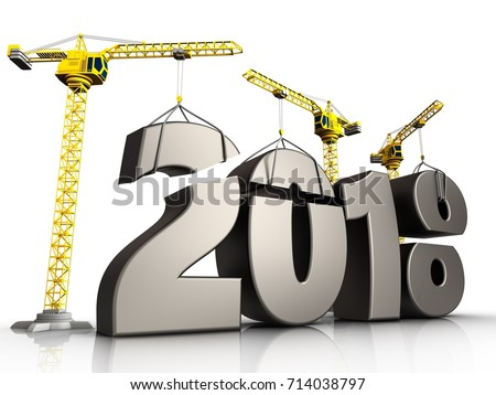 3d illustration of cranes building metal 2018 year sign over white background