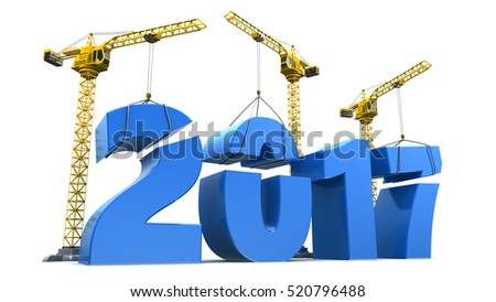 3d illustration of cranes building 2017 year sign, over white background