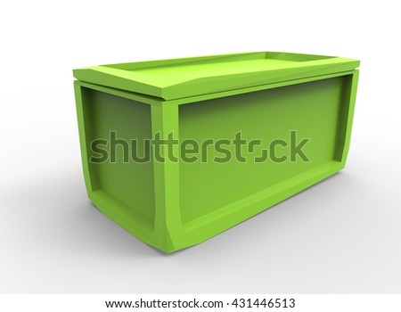 3d illustration of crate. icon for game web. green texture color. white background isolated. simple to use. medieval thing. low poly style. container for things.