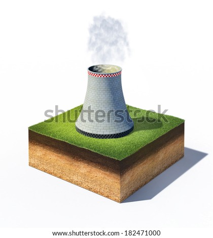 3d illustration of cross section of ground with cooler tower of nuclear power plant isolated on white - stock photo