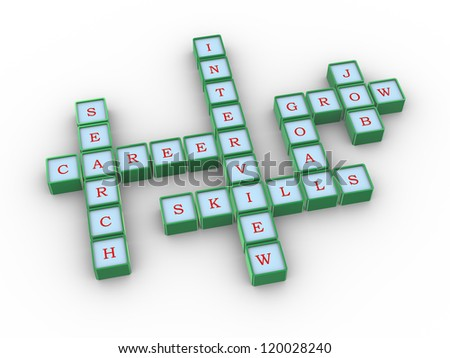 3d illustration of crossword of job searching success - stock photo