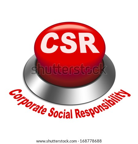 3d illustration of csr corporate social responsibility button isolated white background - stock photo