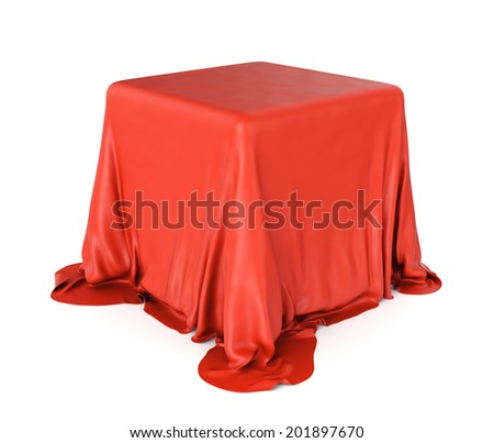 3D illustration of cube shaped object covered with red satin cloth isolated on white background. Surprise and presentation concept. - stock photo