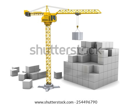 3d illustration of cubes construction with crane tower - stock photo