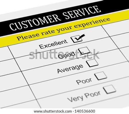 3d illustration of customer service survey form with tick placed in excellent checkbox. - stock photo
