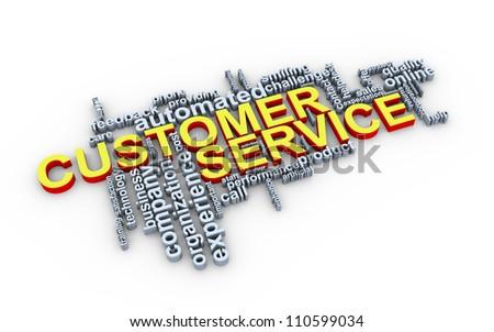 3d Illustration of customer service wordcloud - stock photo