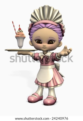 3d illustration of cute cartoon figure dressed as waitress carrying a tray with ice cream - stock photo