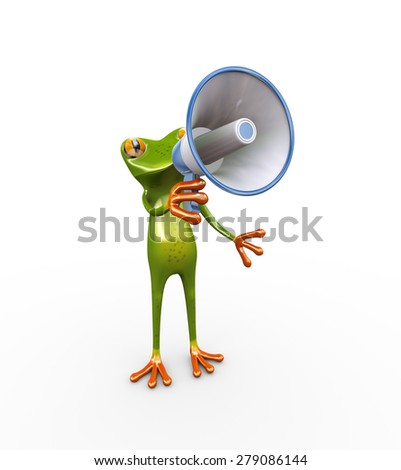 3d illustration of cute funny frog shouting and yelling through megaphone speaker - stock photo