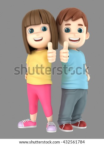 3d illustration of cute little boy and girl showing thumbs up sign
