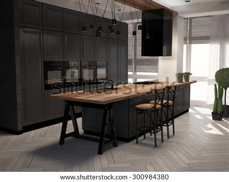 3D illustration of dark colored kitchen in interior - stock photo