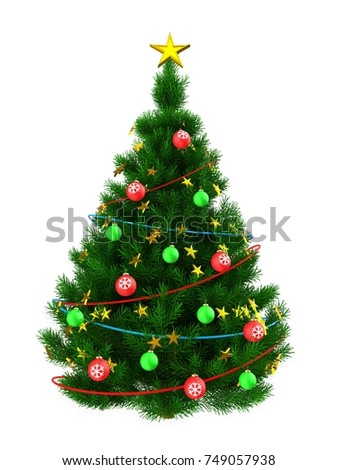 3d illustration of dark green Christmas tree with golden stars over white background
