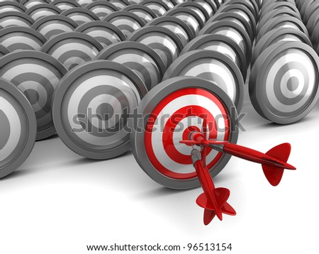 3d illustration of darts, right target concept - stock photo