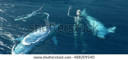 3D illustration of dead dolphins and skeleton