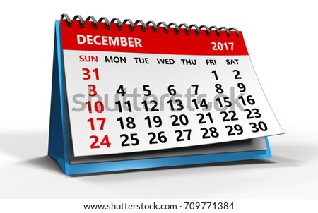 3d illustration of december 2017 calendar over white background