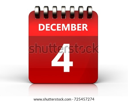 3d illustration of december 4 calendar over white background