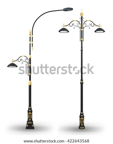 3D illustration of Decorative street lamp post set. Isolated on white background.