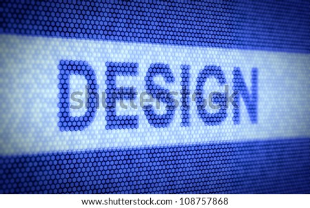 3d illustration of design text on computer screen