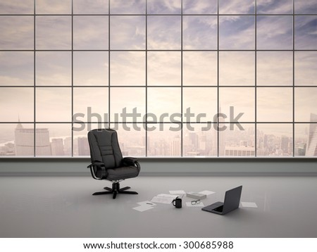 3d illustration of desk chair in an empty office - stock photo