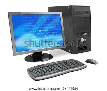 3d illustration of desktop computer, black color - stock photo
