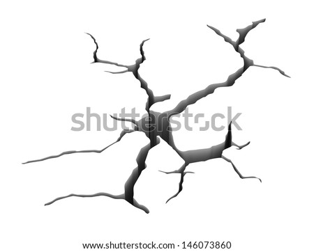 3d illustration of  detailed earth ground crack - stock photo