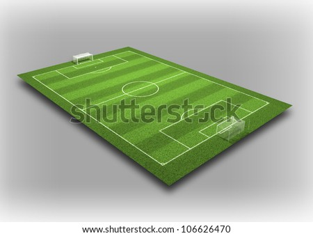 3d Illustration of Detailed Soccer Field on isolated grey background. - stock photo