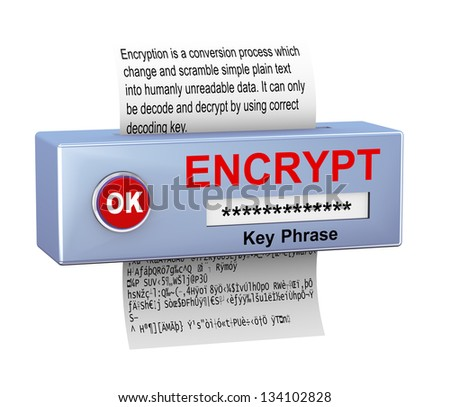 3d illustration of device with plain text conversion into encrypted data. Concept of data security and encryption process - stock photo