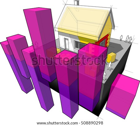 3d illustration of diagram of a detached house with additional wall and roof insulation with abstract business diagram