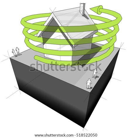 3d illustration of Diagram of a detached house with green spiral arrow