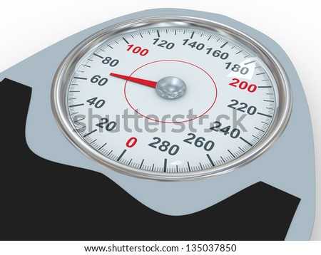 3d illustration of dial of bathroom weight scale. Concept of control diet, exercise and weight loss. - stock photo