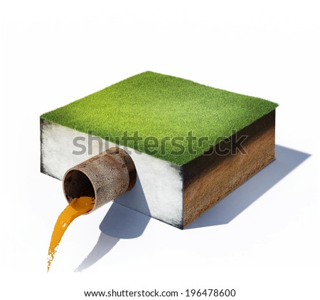 3d illustration of dirty water flows from a pipe in cross section of ground with grass isolated on white