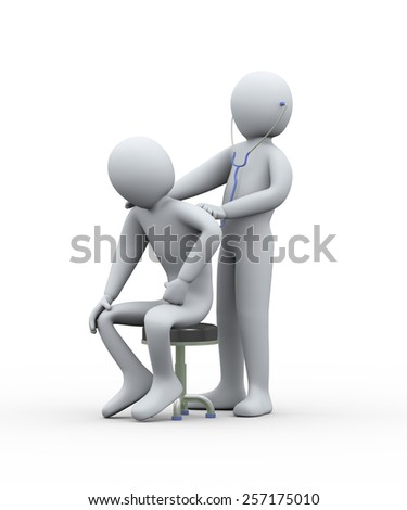 3d illustration of doctor examining man with stethoscope. 3d rendering of man - people character - stock photo