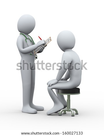 3d illustration of doctor with stethoscope writing patient medical hisotry. 3d rendering of man - people character.