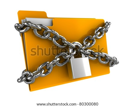 3d illustration of documents folder locked by chains - stock photo