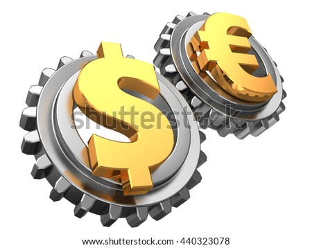 3d illustration of dollar and euro gear wheels system