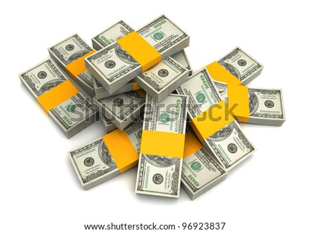 3d illustration of dollar banknotes heap over white background