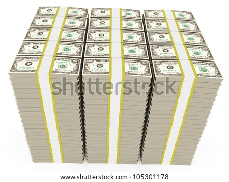 3d illustration of dollar banknotes stacked - over white background - stock photo